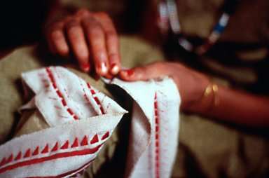 Village Girl Embroidering