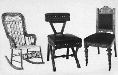 lft: Wicker Rocker; cntr: Modern Gothic Walnut Side Chair; rt: Renaissance Revival Side Chair