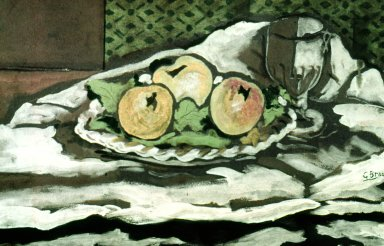 Glass and Plate of Apples