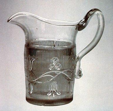 Bellflower Pattern Pressed Glass Pitcher