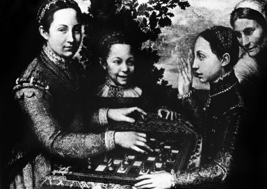 Three of the Artist's Sisters Playing Chess