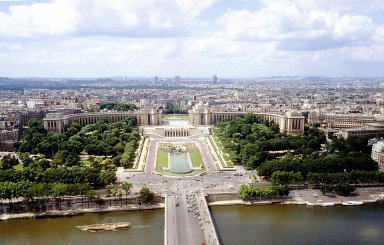Paris from the Eiffel Tower: Palais de Chaillot