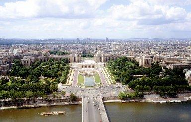 Paris from the Eiffel Tower: Palais de Chaillot