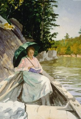Peggy Reading in Rowboat