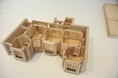 Scale and cutaway models of Rue Franklin Apartments