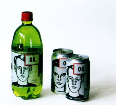 OK Soda Bottle and Cans