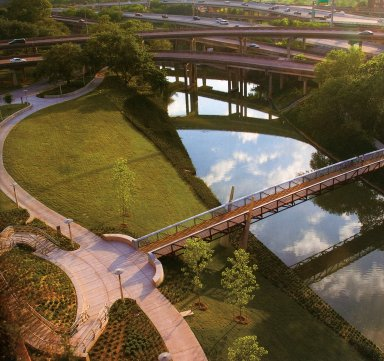 Buffalo Bayou Prommenade and Rosemont Bridge