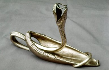 A French Art Nouveau Patinated Bronze Snake in Furled Leaf-Form Chamberstick