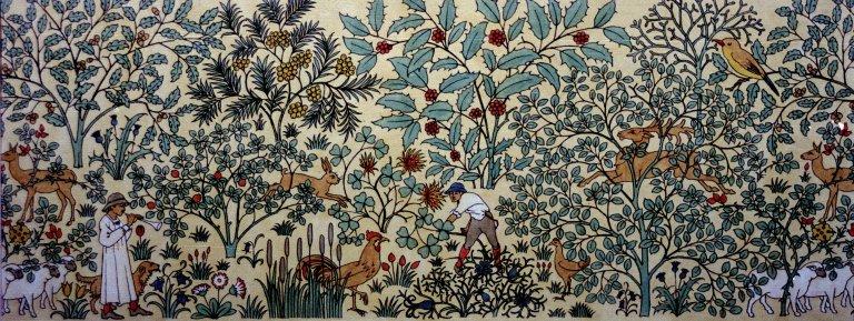 Wallpaper Design: Shepherd and Sheep