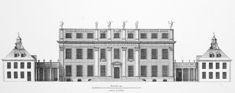 Elevation of Buckingham House in Saint James Park