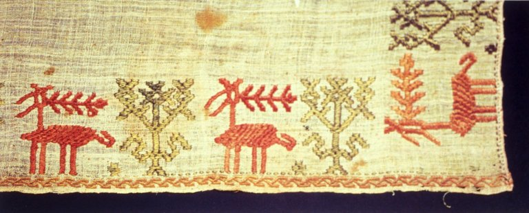 Small Cloth with Deer and Plant Motifs