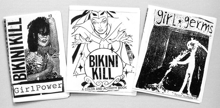 Bikini Kill: Girl Power, Bikini Kill: A Color and Activity Book, and Girl Germs Covers