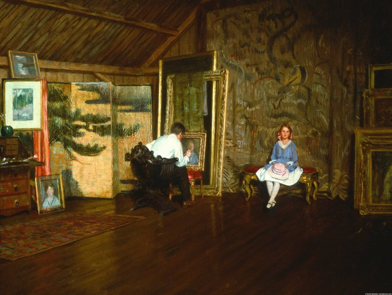 Studio Interior: The Artist and His Daughter Nelly