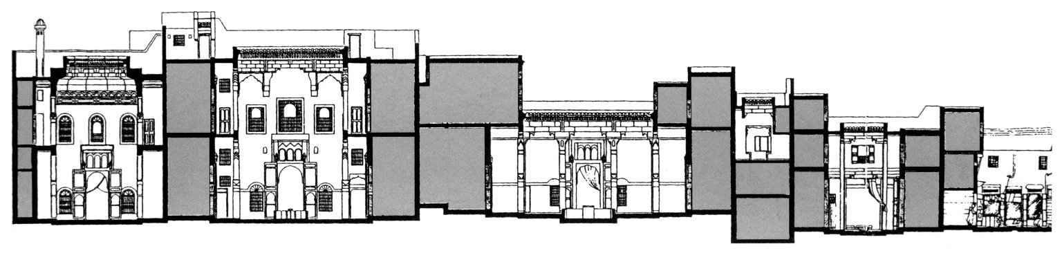 Section Through Wall-to-Wall Built Courtyard Houses in Fez, Morocco
